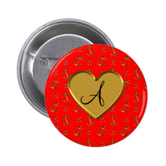 Monogram neon red gold anchors heart buttons