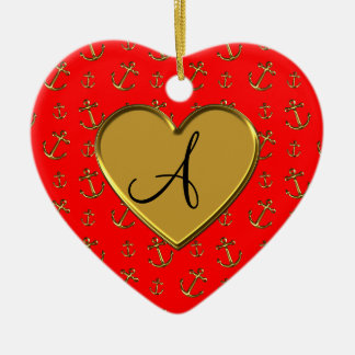 Monogram neon red gold anchors heart Double-Sided heart ceramic christmas ornament