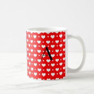 Monogram neon red hearts polka dots mug