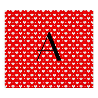 Monogram neon red hearts polka dots posters