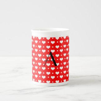 Monogram neon red hearts polka dots porcelain mugs