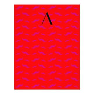 """Monogram neon red mustache pattern 8.5"""" x 11"""" flyer"""