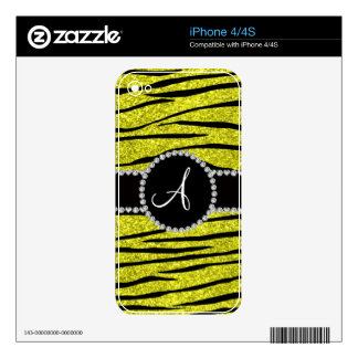Monogram neon yellow glitter zebra stripes circle decals for the iPhone 4S