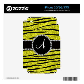 Monogram neon yellow glitter zebra stripes circle skins for the iPhone 3