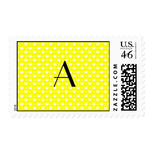 Monogram neon yellow hearts polka dots postage stamp