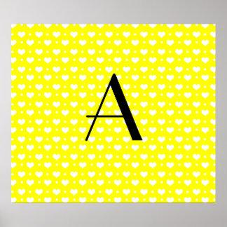 Monogram neon yellow hearts polka dots poster