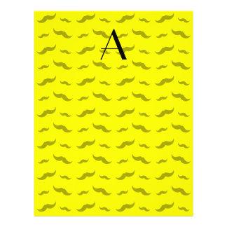 "Monogram neon yellow mustache pattern 8.5"" x 11"" flyer"