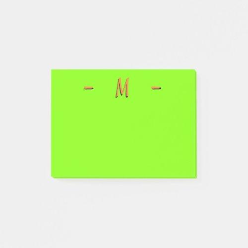 Monogram Neonesque Green and Orange Post-it Notes