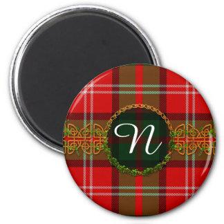 Monogram Nesbitt Tartan 2 Inch Round Magnet