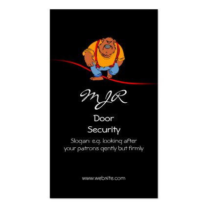 Monogram, Nightclub Door Security, red swoosh Business Cards