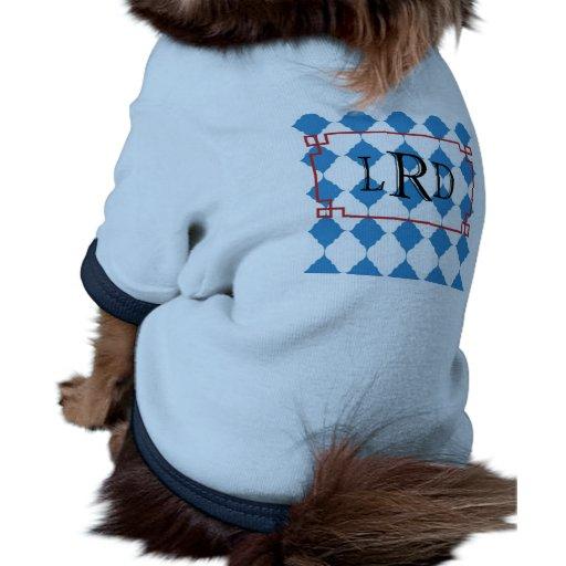 Monogram nubes azul camiseta con mangas para perro