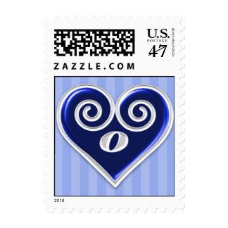 Monogram O Blue Heart Stamp