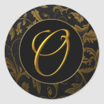 Monogram O Gold and Black Damask Wedding Seal Classic Round Sticker