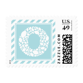Monogram O Leaves & Stripes Custom Postage