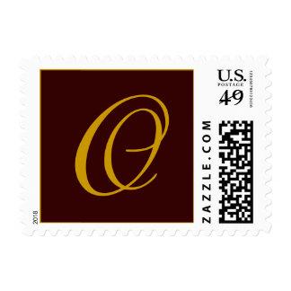 Monogram O Postage Stamp Brown Gold