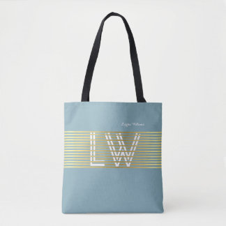 monogram of interlaced golden lines tote bag