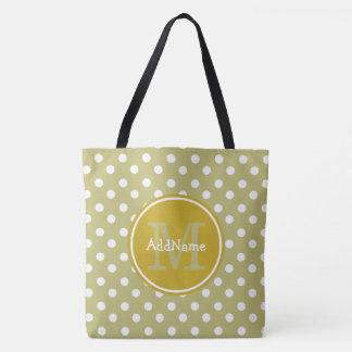 Monogram Olive and White Polka Dots Tote Bag