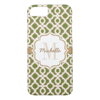 Monogram Olive Green and Gold Quatrefoil iPhone 7 Case