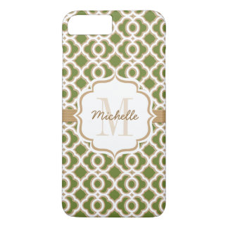 Monogram Olive Green and Gold Quatrefoil iPhone 8 Plus/7 Plus Case