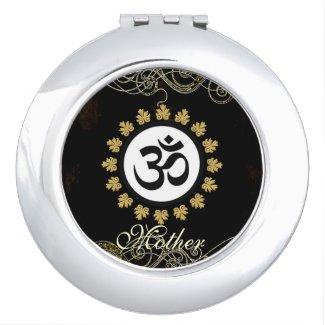 Monogram Om Sacred Hindu Meditation Symbol Black Compact Mirrors