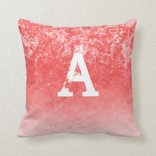 Coral Pink Throw Pillows : Monogram Ombre Coral Pink Grunge Home Throw Decor Throw Pillow Zazzle