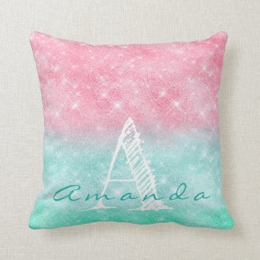 Beach Themed Monogram Ombre Name Pink Ocean Pastel Spark Girly Throw Pillow