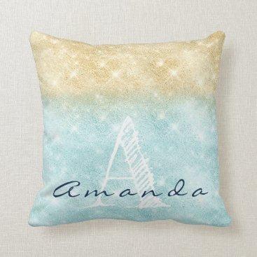 Beach Themed Monogram Ombre Name Tiffany Aqua Beach Navy Blue Throw Pillow