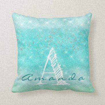 Beach Themed Monogram Ombre Name Tiffany Aqua Beach Teal Blue Throw Pillow