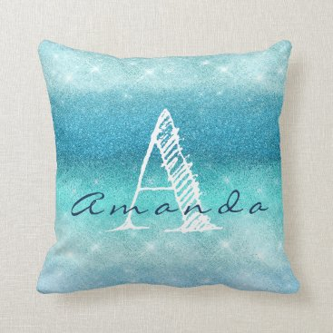 Beach Themed Monogram Ombre Name Tiffany Aqua Ocean Navy Blue Throw Pillow