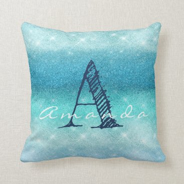 Beach Themed Monogram Ombre Name Tiffany Aqua Ocean Navy Glitte Throw Pillow