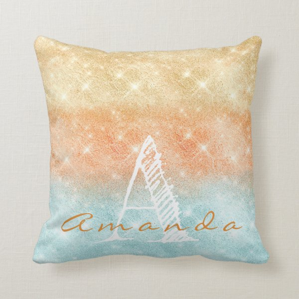 Monogram Ombre Name Tiffany Aqua Peach Gold Blue Throw Pillow