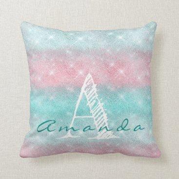 Beach Themed Monogram Ombre Name Tiffany Aqua Pink Ocean Spark Throw Pillow