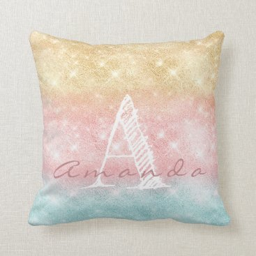 Beach Themed Monogram Ombre Name Tiffany Pink Blue Spark Girly Throw Pillow
