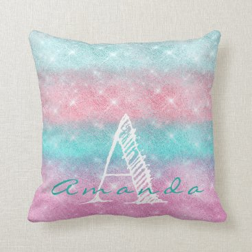 Beach Themed Monogram Ombre Name Tiffany Pink Ocean Spark Girly Throw Pillow