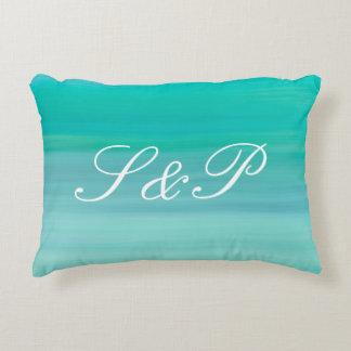 Monogram on aquamarine green and blue calm ocean decorative pillow