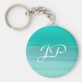 Monogram on aquamarine green and blue calm ocean keychain