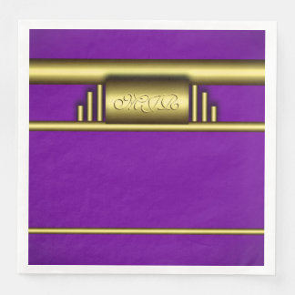 Monogram on art deco gold and royal purple paper dinner napkin