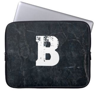 Monogram on Black Stone Grunge Texture Laptop Sleeve
