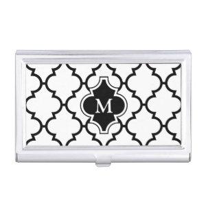 Monogram on Black White Quatrefoil Pattern Business Card Holder