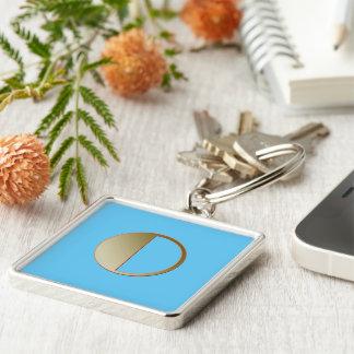 Monogram on Blue square keychain