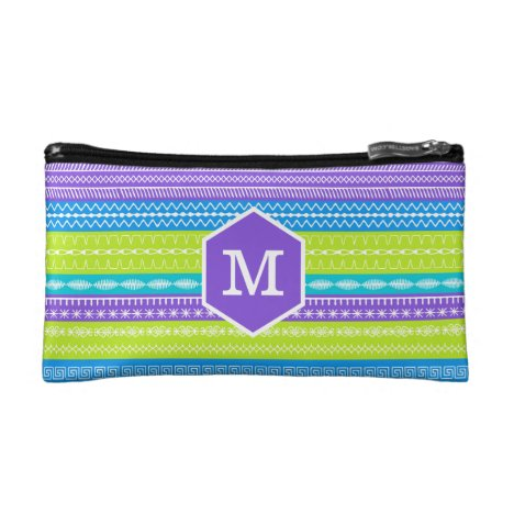 Monogram on bright peacock colored stitches cosmetic bag