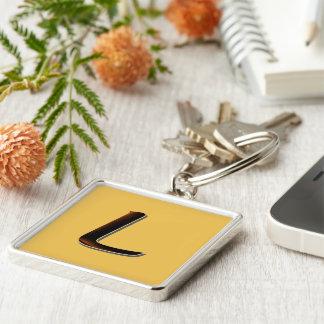 Monogram on Brown Square keychain