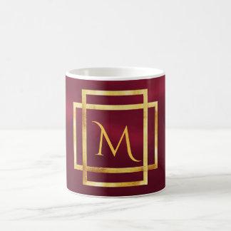 Monogram on burgundy with faux gold art deco frame coffee mug