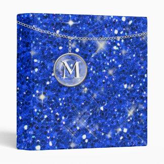 Monogram on Chain Blue Glitter ID145 3 Ring Binder