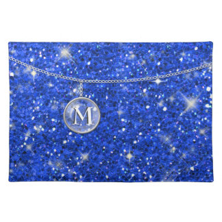 Monogram on Chain Blue Glitter ID145 Cloth Placemat