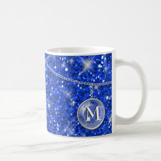 Monogram on Chain Blue Glitter ID145 Coffee Mug