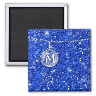 Monogram on Chain Blue Glitter ID145 Magnet