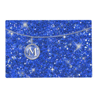 Monogram on Chain Blue Glitter ID145 Placemat
