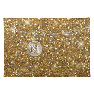 Monogram on Chain Gold Glitter ID145 Cloth Placemat