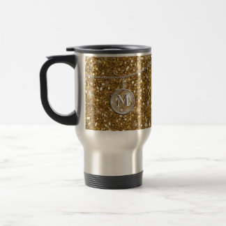 Monogram on Chain Gold Glitter ID145 Travel Mug